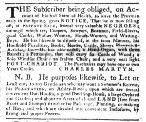 Feb 1 1770 - South-Carolina Gazette Slavery 6
