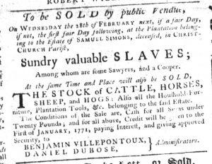 Feb 1 1770 - South-Carolina Gazette Slavery 8