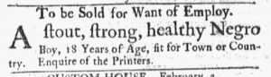 Feb 5 1770 - Massachusetts Gazette and Boston Post-Boy Slavery 1