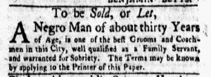 Feb 5 1770 - New-York Gazette and Weekly Mercury Slavery 7