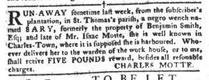 Feb 6 1770 - South-Carolina Gazette and Country Journal Slavery 9