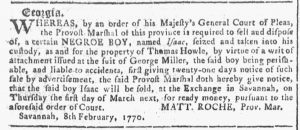 Feb 7 1770 - Georgia Gazette Slavery 1