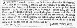 Feb 7 1770 - Georgia Gazette Slavery 3