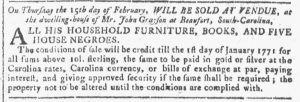 Feb 7 1770 - Georgia Gazette Slavery 4