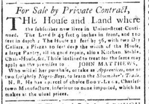 Feb 7 1770 - South-Carolina and American General Gazette Slavery 11