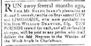 Feb 7 1770 - South-Carolina and American General Gazette Slavery 12