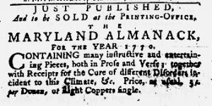 Jan 11 1770 - 1:11:1770 Maryland Gazette
