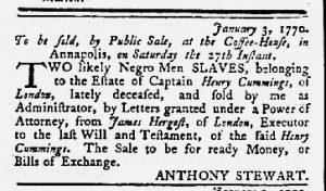 Jan 11 1770 - Maryland Gazette Slavery 1