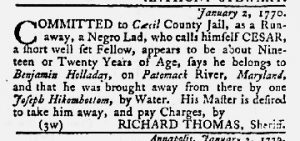 Jan 11 1770 - Maryland Gazette Slavery 2