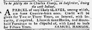 Jan 11 1770 - Maryland Gazette Slavery 3