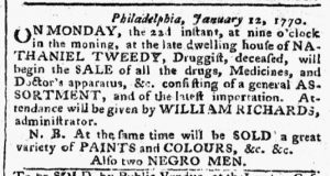 Jan 15 1770 - Pennsylvania Chronicle Slavery 1