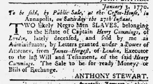 Jan 18 1770 - Maryland Gazette Slavery 1