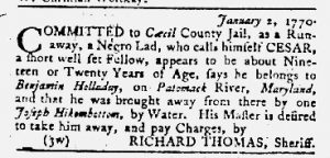 Jan 18 1770 - Maryland Gazette Slavery 2