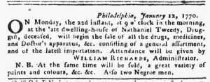 Jan 18 1770 - Pennsylvania Gazette Slavery 1
