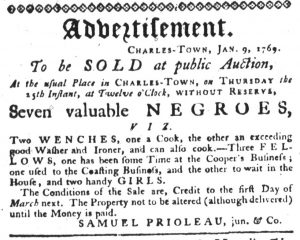 Jan 18 1770 - South-Carolina Gazette Slavery 2