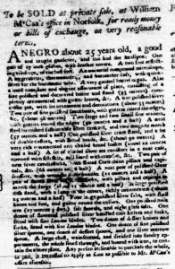 Jan 18 1770 - Virginia Gazette Purdie and Dixon Slavery 2