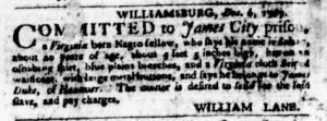 Jan 18 1770 - Virginia Gazette Purdie and Dixon Slavery 4