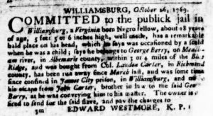 Jan 18 1770 - Virginia Gazette Purdie and Dixon Slavery 5