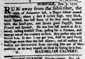 Jan 18 1770 - Virginia Gazette Rind Slavery 1