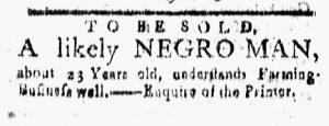 Jan 19 1770 - New-London Gazette Slavery 1
