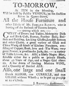 Jan 22 1770 - Massachusetts Gazette and Boston Post-Boy Slavery 1