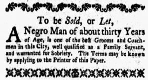 Jan 22 1770 - New-York Gazette and Weekly Mercury Slavery 1