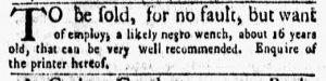Jan 22 1770 - New-York Gazette and Weekly Mercury Slavery 3