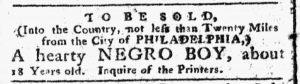 Jan 22 1770 - Pennsylvania Chronicle Slavery 1