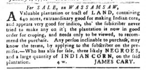 Jan 23 1770 - South-Carolina Gazette and Country Journal Slavery 1