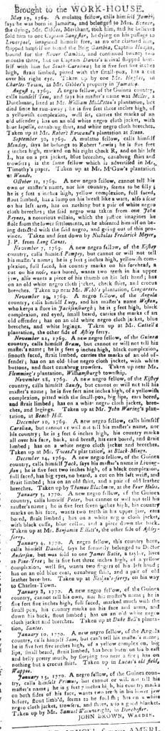 Jan 23 1770 - South-Carolina Gazette and Country Journal Slavery 13