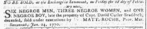 Jan 24 1770 - Georgia Gazette Slavery 2