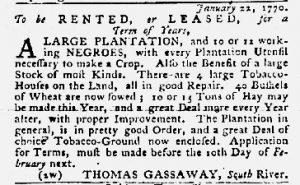 Jan 25 1770 - Maryland Gazette Slavery 1