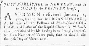 Jan 27 - 1:27:1770 Providence Gazette