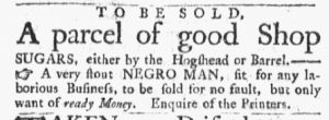Jan 29 1770 - Massachusetts Gazette and Boston Post-Boy Slavery 1