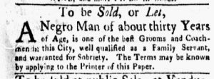 Jan 29 1770 - New-York Gazette and Weekly Mercury Slavery 6