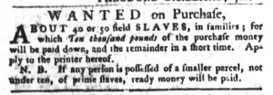 Jan 30 1770 - South-Carolina Gazette and Country Journal Slavery 10