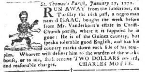 Jan 30 1770 - South-Carolina Gazette and Country Journal Slavery 6