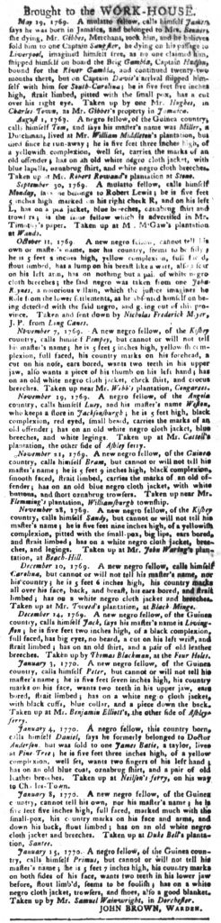 Jan 30 1770 - South-Carolina Gazette and Country Journal Slavery 9