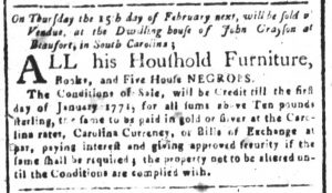 Jan 31 1770 - South-Carolina and American General Gazette Slavery 6