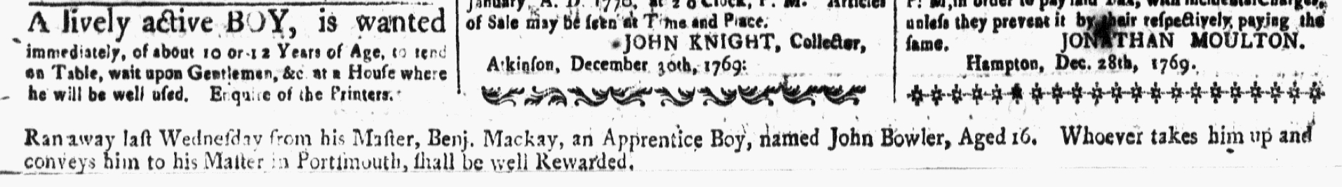 Jan 5 1770 - 1:5:1770 New-Hampshire Gazette