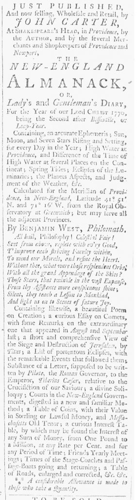 Jan 6 1770 - 1:6:1770 Providence Gazette