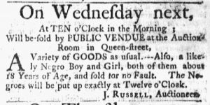 Feb 12 1770 - Massachusetts Gazette and Boston Post-Boy Slavery 1