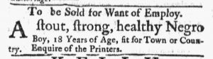 Feb 12 1770 - Massachusetts Gazette and Boston Post-Boy Slavery 2