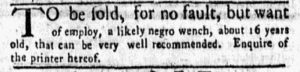 Feb 12 1770 - New-York Gazette and Weekly Mercury Slavery 8