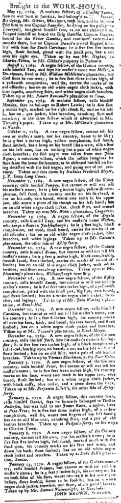 Feb 13 1770 - South-Carolina Gazette and Country Journal Slavery 11