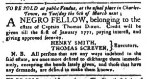 Feb 13 1770 - South-Carolina Gazette and Country Journal Slavery 13