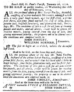 Feb 13 1770 - South-Carolina Gazette and Country Journal Slavery 5