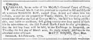 Feb 14 1770 - Georgia Gazette Slavery 3