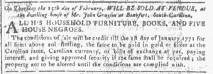 Feb 14 1770 - Georgia Gazette Slavery 4