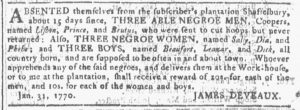 Feb 14 1770 - Georgia Gazette Slavery 5